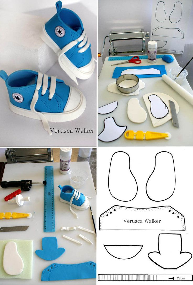 Diy Gumpaste Baby Boy Converse Booties Template For Cake Decorating