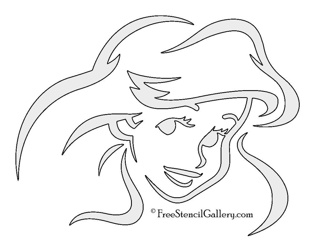 The Little Mermaid - Ariel Stencil 01 | Disney stencils ...