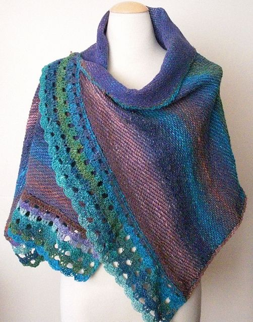Beautiful use of knit weave on the knitting machine, and Noro yarn ...