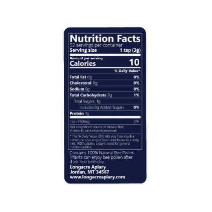 Bee Pollen Nutrition Facts Imperial Blue Product Label Office Gifts Giftideas Business Nutrition Facts Product Label Bee Pollen