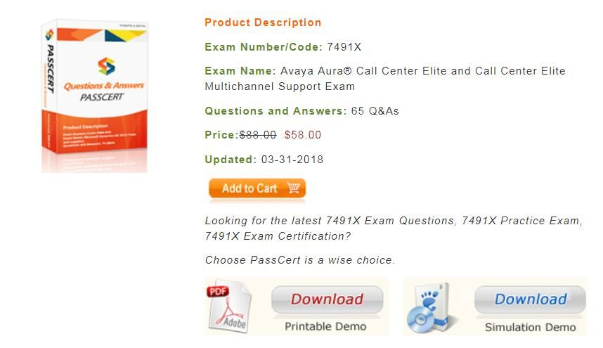 Passcert provides you the latest Avaya ACSS 7491X dumps for your ...