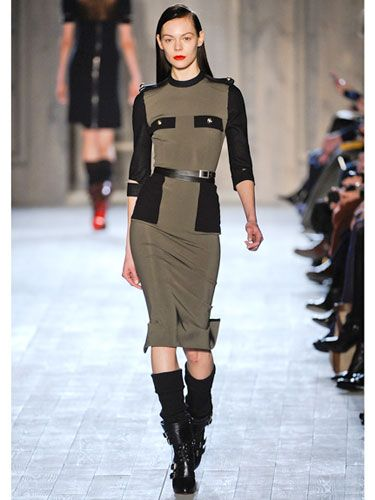 """""""Military""""  Victoria Beckham  Who wouldn't want to be on the frontlines with this olive-green vision? From the epaulettes to the two chest pockets to the retro pencil-skirt silhouette, this is fashion's best version of fatigues.    Read more: Fall 2012 Fashion Trends - Best Trends from Fall 2012 Fashion Week - Marie Claire"""