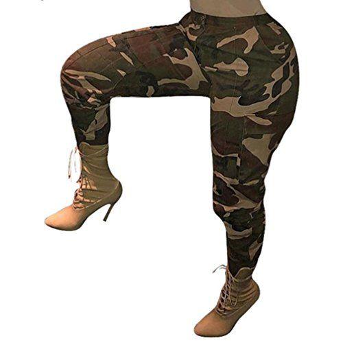 Pantalon Chino à Imprimé CamouflageOverDose Femme Grande Taille Casual Slim Sport  Jogging Taille Haute Cargo Hip Hop Trousers (50 Tag XXXXXL Vert) 681bcb3e9bf