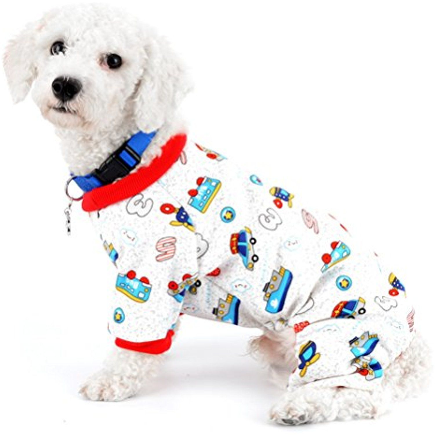 ZUNEA Car Print Adorable Padded Dog Pajamas Jumpsuit Cotton Fleece Warm Pet  Puppy Pjs Indoor Outfits Chihuahua Yorkie Clothes Apparel XL     Check out  this ... bca5931b1