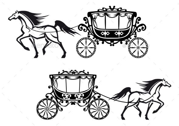 Horses harnessed to a antique carriages with elegant