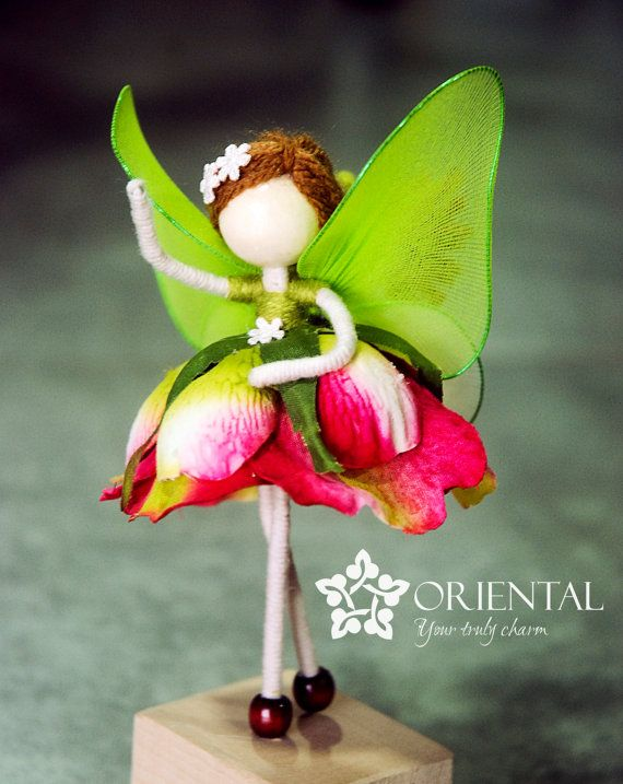 Orange Rose Flower Doll Green Fairy Miniature By