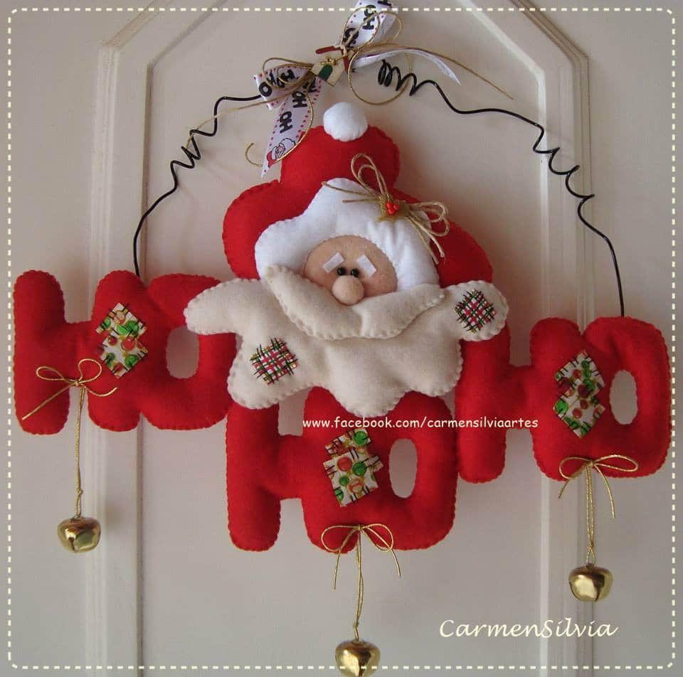 Adornos de santa claus en fieltro con moldes fieltro - Adorno puerta navidad ...