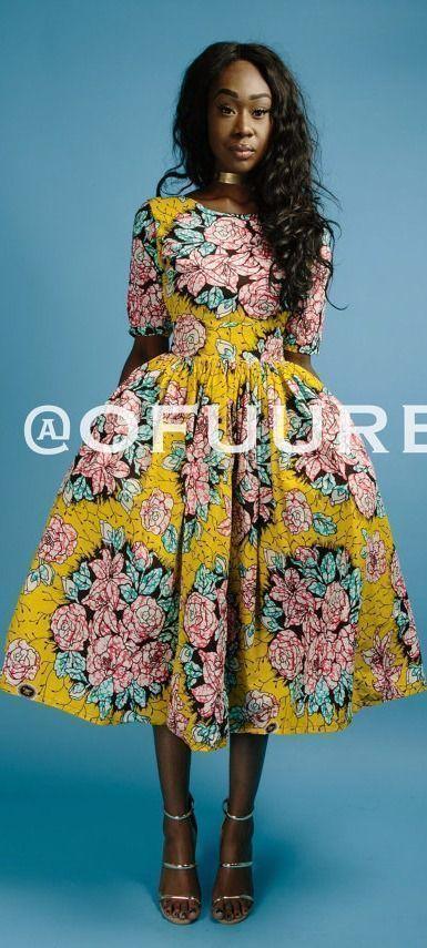 African Print Senegal Midi Dress