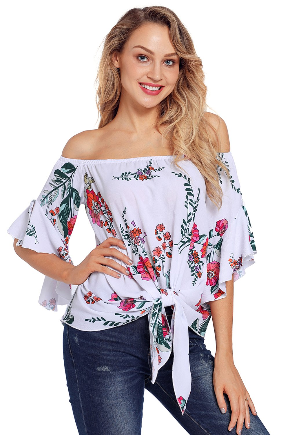 95fd74268abca White Floral Tie Front Off The Shoulder Top