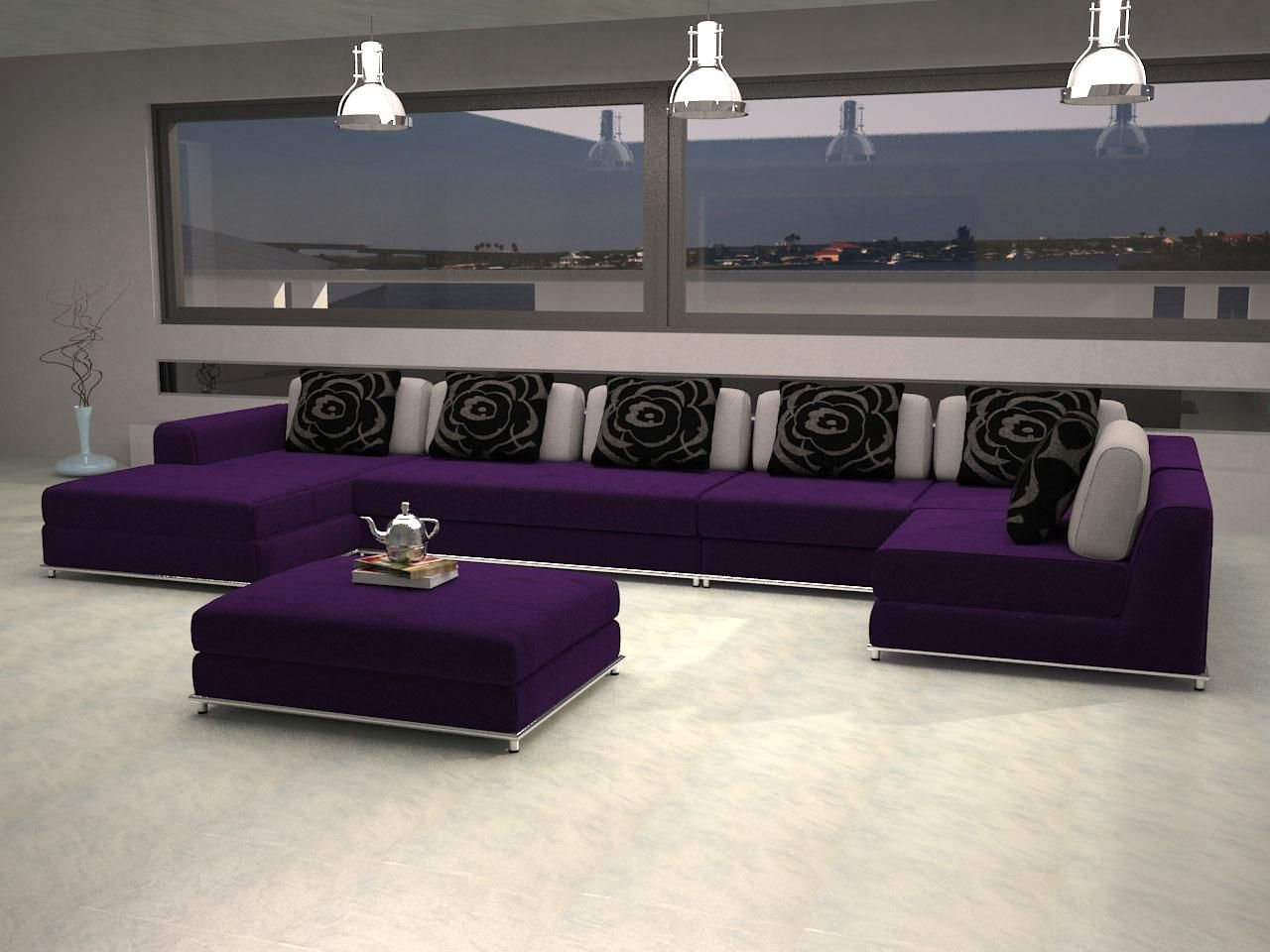 San Francisco Purple Sofa Design With Black Cushion Applying Modern