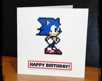 Sonic Le Herisson Hama Perler Bead Joyeux Anniversaire Carte D