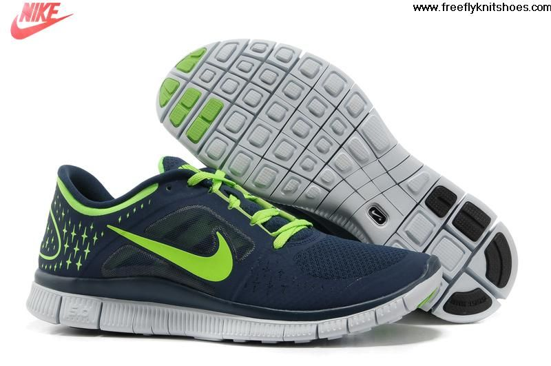 2013 New Mens Nike Free Run 3 Light Midnight Electric Green Pure Platinum Shoes The Most Flexible Running Shoes