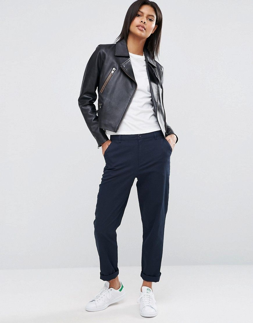 715bba1a81f7e2 DESIGN chino pants in navy in 2019 | fitss ☆ | Khaki pants outfit ...