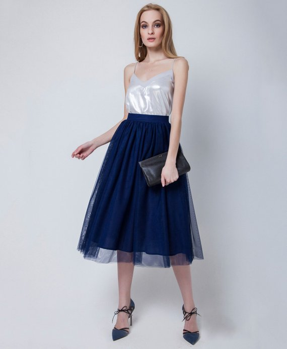 53b9cb53ae8a Tea-length tulle skirt with pockets, tulle skirt,dark blue skirt, blue maxi  skirt, tutu skirt,casual