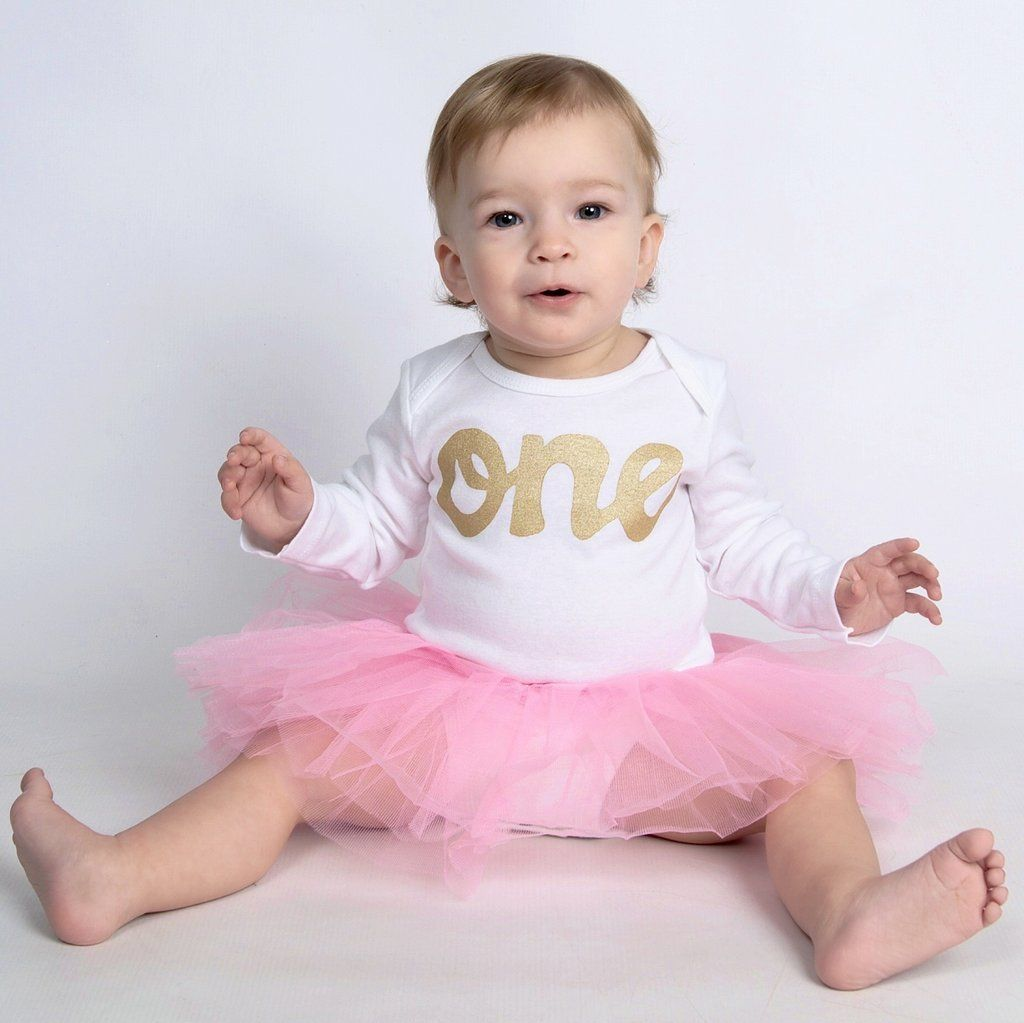Posh Petal pink tutu with long sleeve lil peanut gold