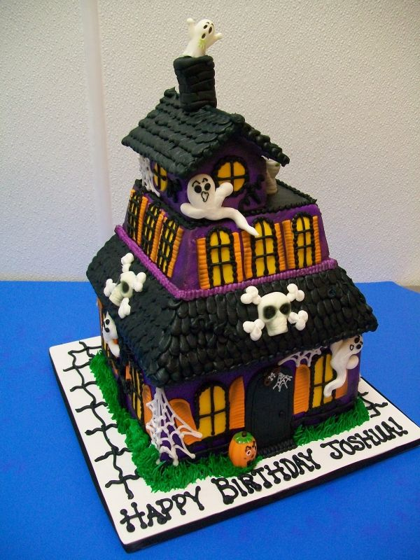 Excellent Spooky Birthday Haunted House Cake Halloween Gingerbread House Personalised Birthday Cards Epsylily Jamesorg