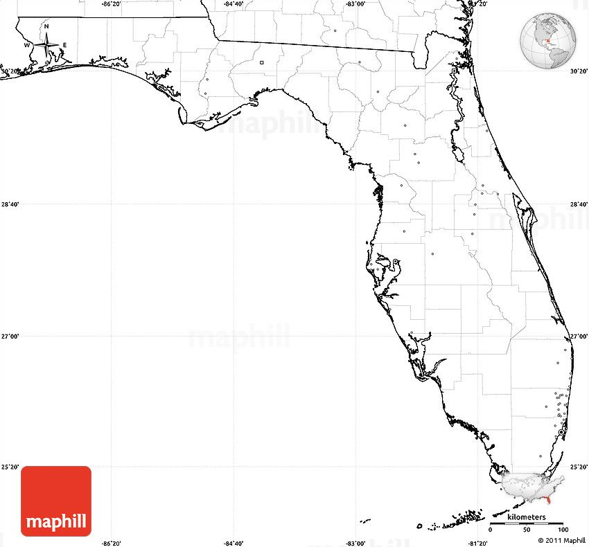 Blank Simple Map Of Florida No Labels For The Classroom Pinterest - Blank us map no states