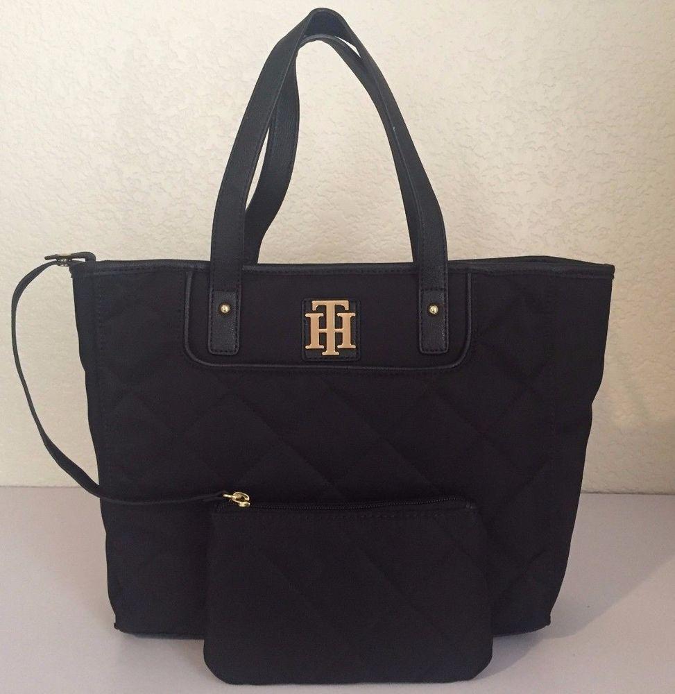 Tommy Hilfiger Women Black Purse Handbag With Small Bag Formal