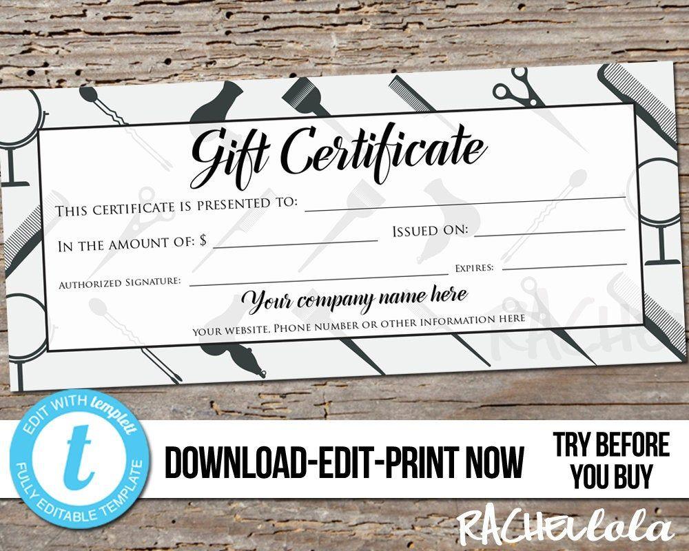 Editable custom hair salon gift certificate printable