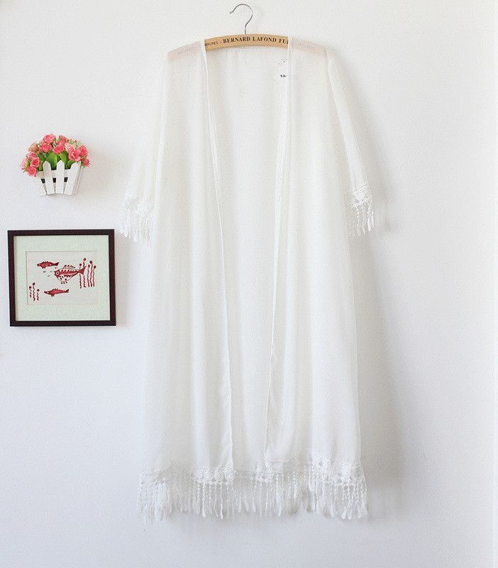 New Summer Elegant Transparent Lace Fringed Chiffon Cardigan Thin ...