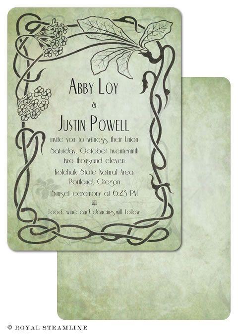 Wildwood Vintage Art Nouveau Wedding Invitation Sample 3 00