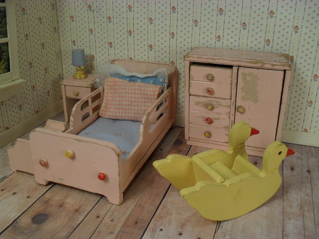 Vintage Wooden Dollhouse Nursery Furniture Bed By TheToyBox, $75.00