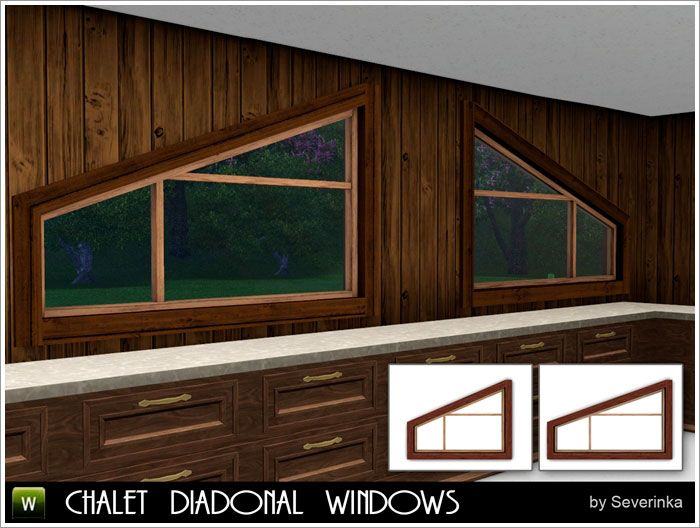 Chalet diagonal windows by Severinka - Free Sims 3 Build Mode Downloads Sims by Severinka Custom Content Caboodle - Best Sims3 Updates and Finds