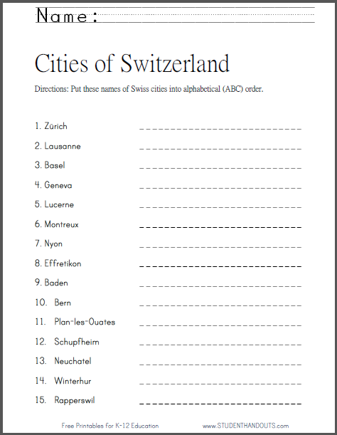 picture regarding Free Printable Bell Ringers referred to as Switzerlands Towns within just ABC Get - Cost-free printable cross
