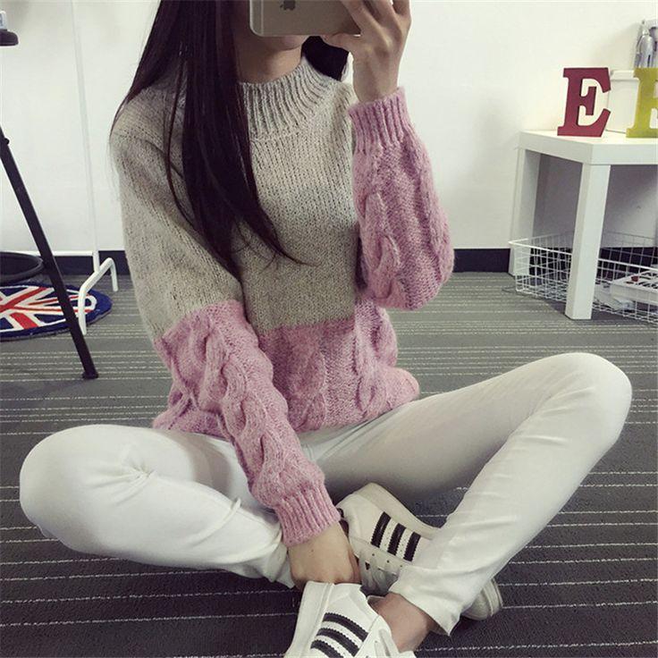 意淫网亚洲色�_WomenNewKoreanTwistknittingSweaterContrastColorDesignCropSweaterPullover