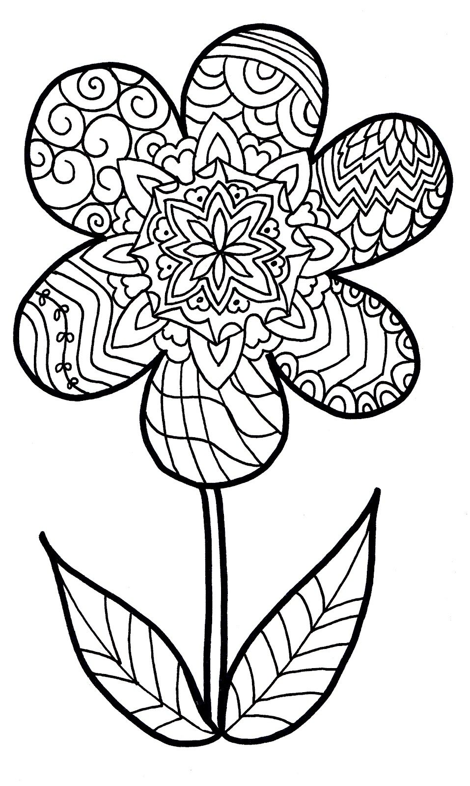 Flower+zentangle+colouring+page.jpg (957×1600) Coloring