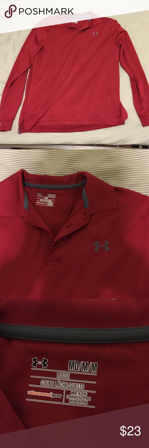 RED UNDERARMOUR LONGSLEEVE DRESS SHIRT Has never been worn Under Armour Shirts Dress Shirts