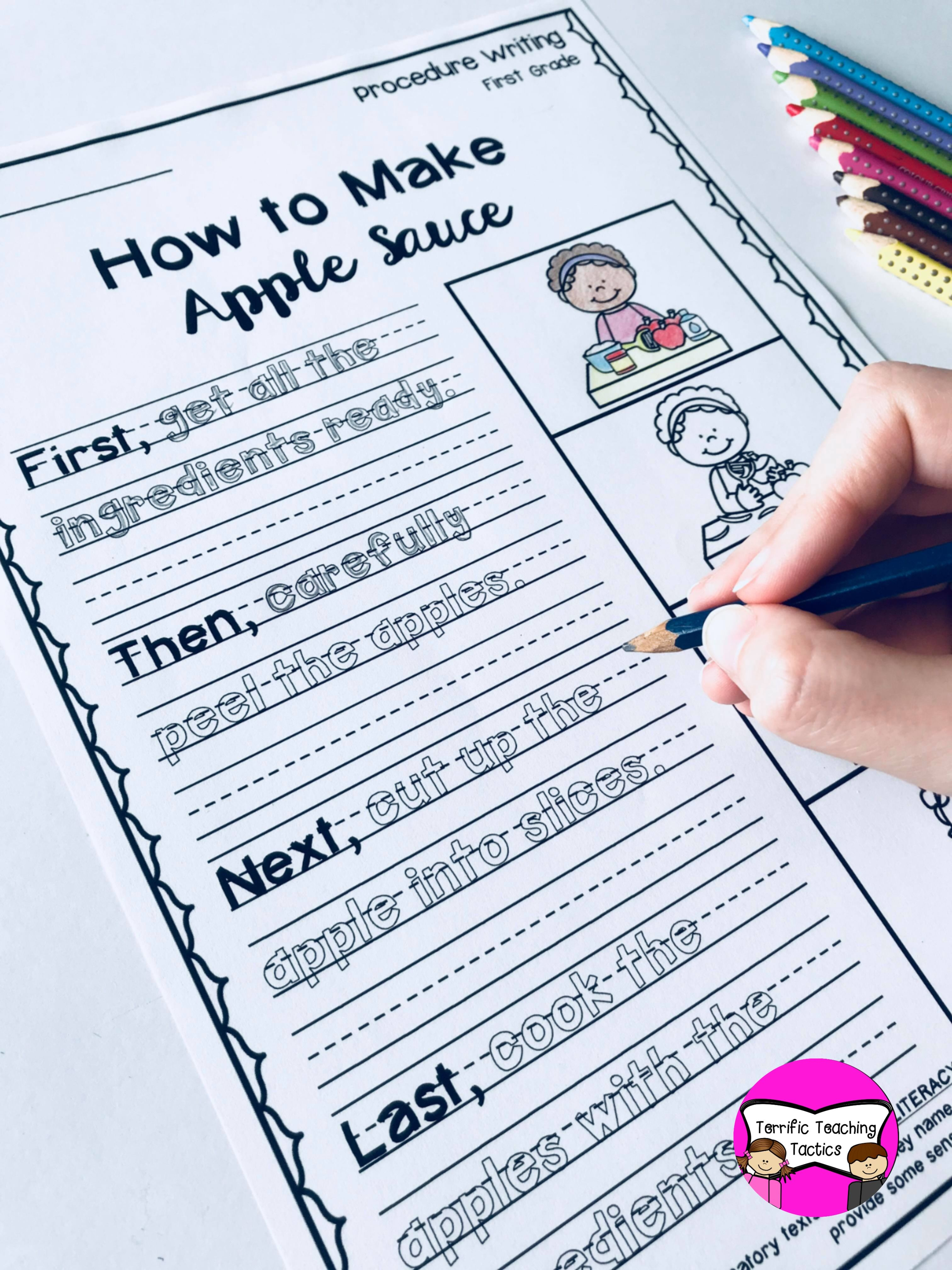 First Grade Procedure Writing Prompts Worksheets In
