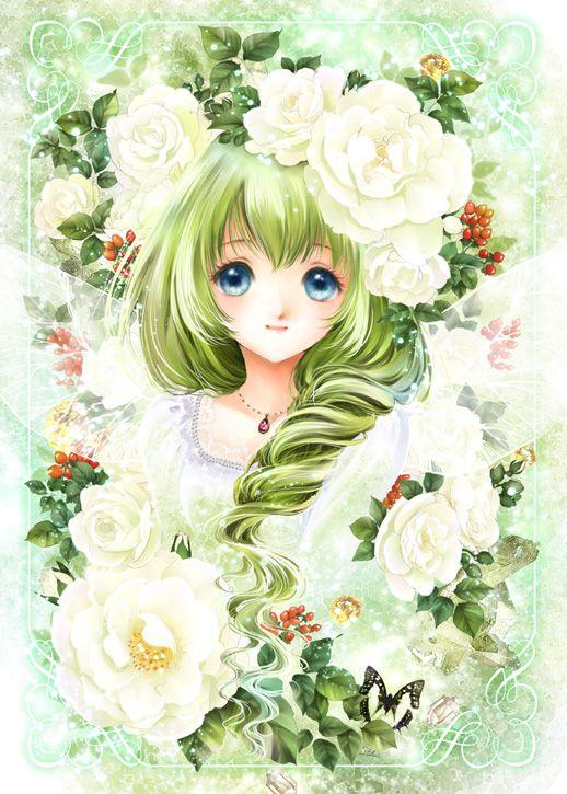White Rose Fairy Princess With Long Curly Green Hair Blue Eyes Ivory Flowers By Manga Artist Shiitake Anime Princess Anime Drawings Anime Scenery