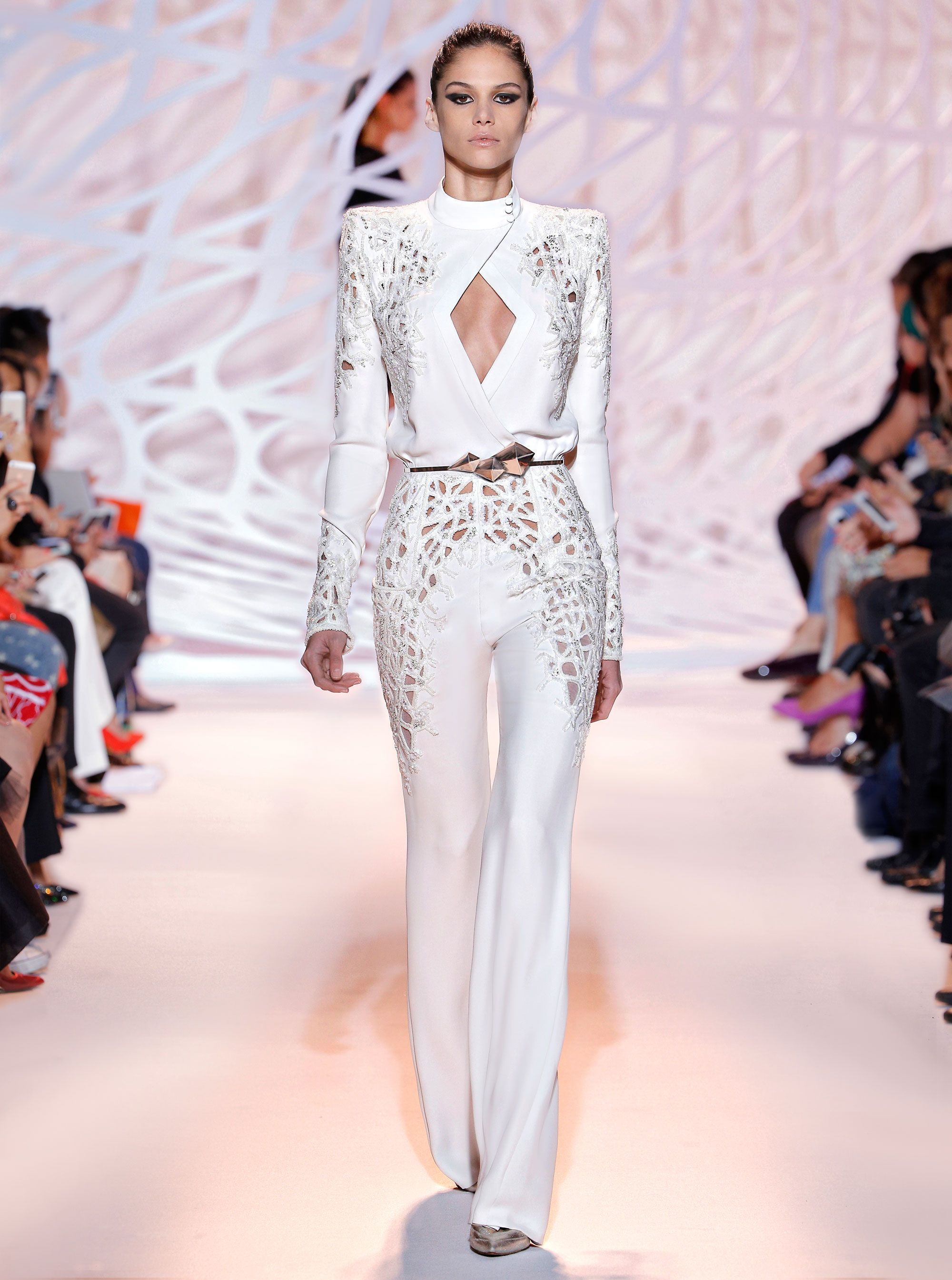 cf2b7636520b ZUHAIR MURAD - Long sleeve crepe jumpsuit in clay with tonal jewel  encrusted detailing and center wrap front bodice