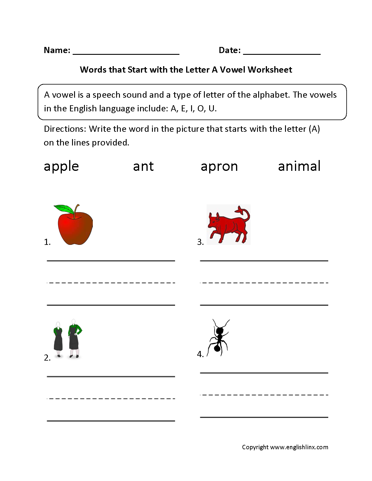 Words Start Letter A Vowel Worksheets  EnglishlinxCom Board