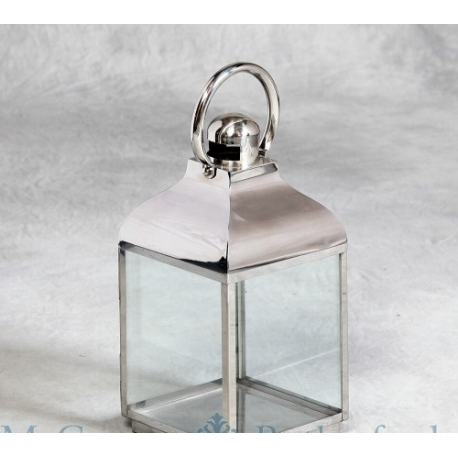 Polished Steel 49cm Small Square Glass Lantern £26.24
