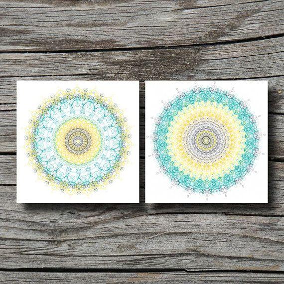 Set Of 2 Prints, Geometric Art, Yellow Teal Aqua Grey, Yoga Decor Home