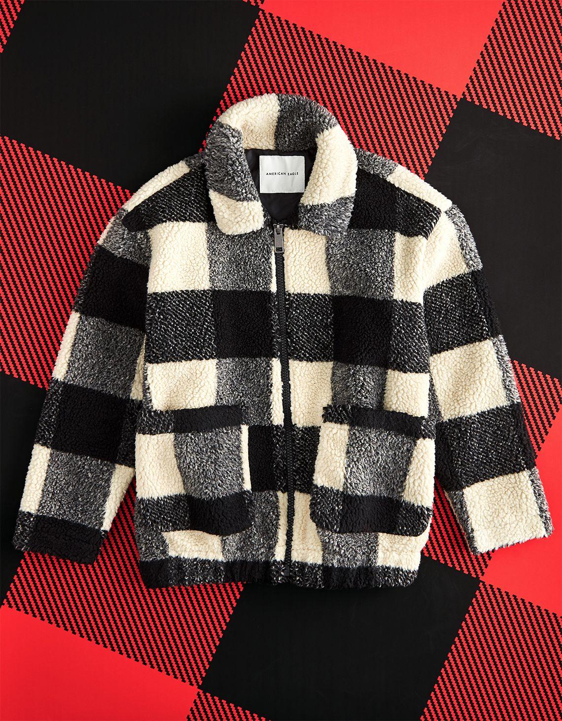 Ae Fuzzy Sherpa Bomber Jacket [ 1462 x 1140 Pixel ]