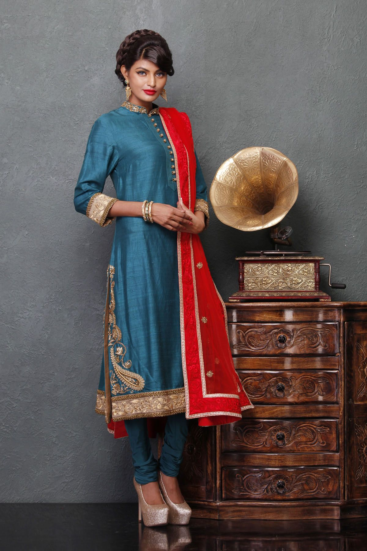 Turquoise bandhgala churidaar suit | Beautiful, Turquoise and Suits