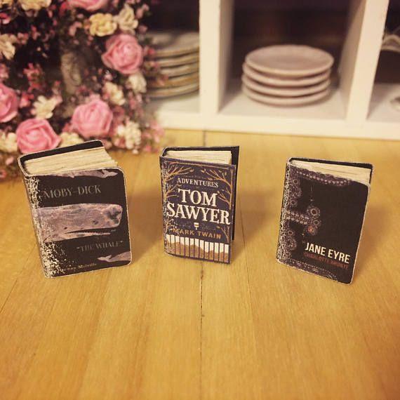 4 MARK TWAIN CLASSIC Miniature Books Set Dollhouse 1:12 Scale Illustrated Book
