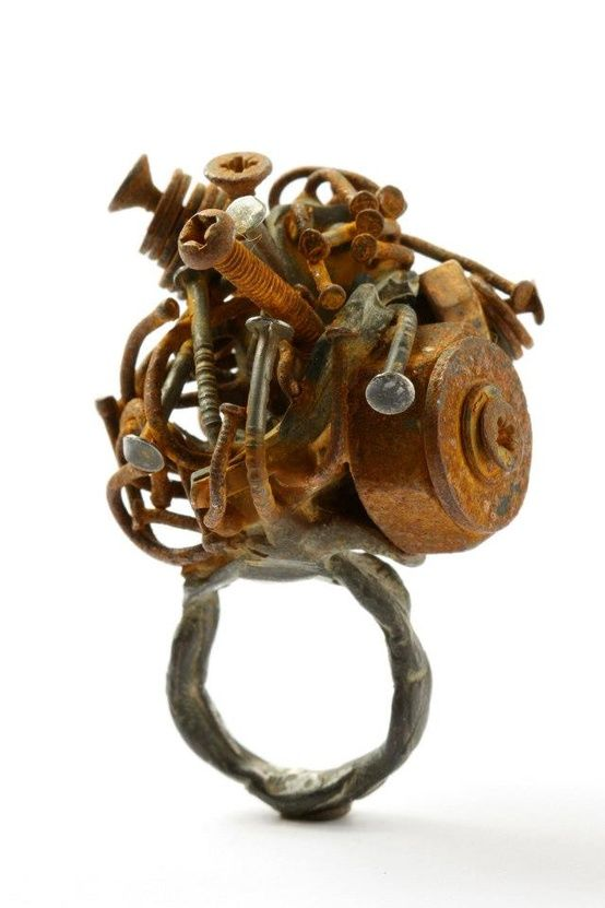 Karl Fritsch - art sculpture in a ring - rugged metals & nails #jewellery #design