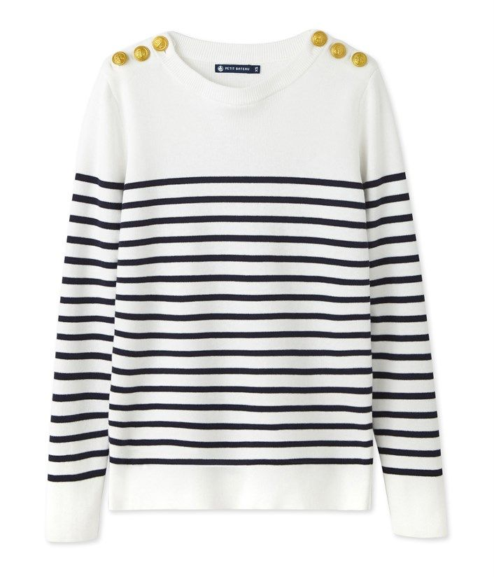 4ebb8a9ecf Pull marin femme en coton rayé blanc Lait / bleu Smoking. Retrouvez notre  gamme de vêtements et sous-vêtements pour bébé, enfant, mode femme et homme.