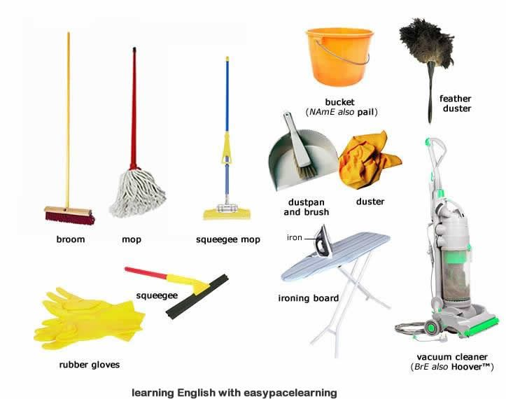 Common kitchen utensils names - Learn The English Cleaning Equipment Vocabulary