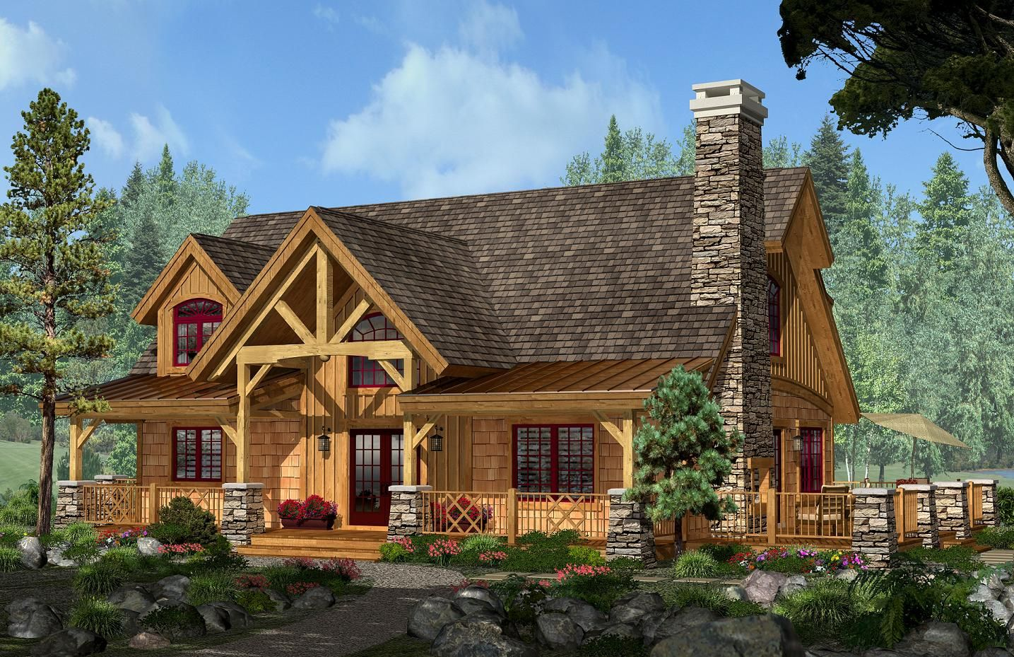 Adirondack cottage from the adirondack series elevation for Adirondack cabin builders