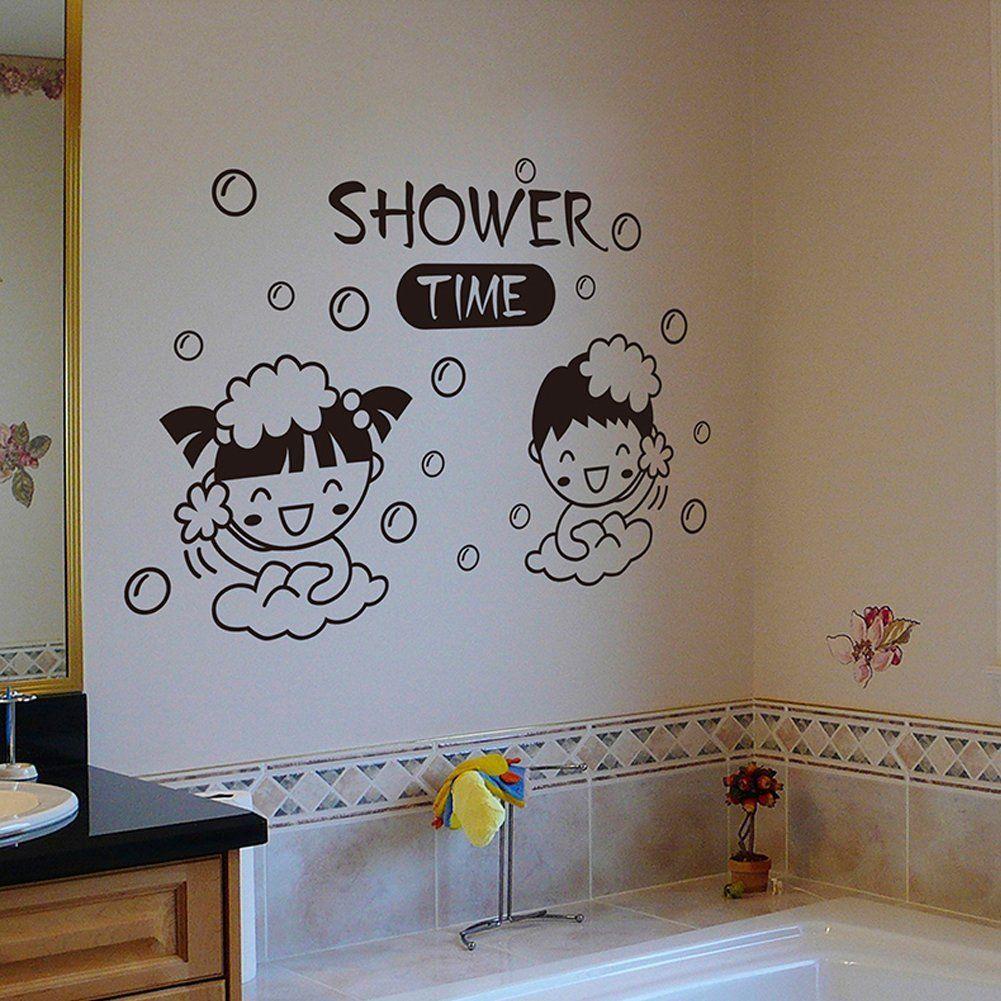 TAFLY PVC Removable Bathroom Decal Art DIY