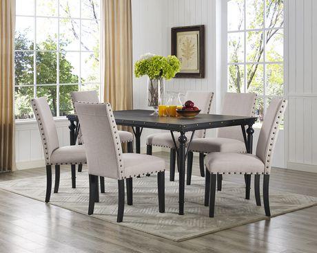 Brassex Inc Arianna 7 Piece Dining Set Table 6 Chairs Beige