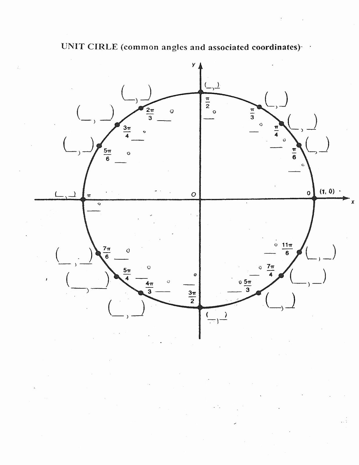 50 Unit Circle Practice Worksheet In