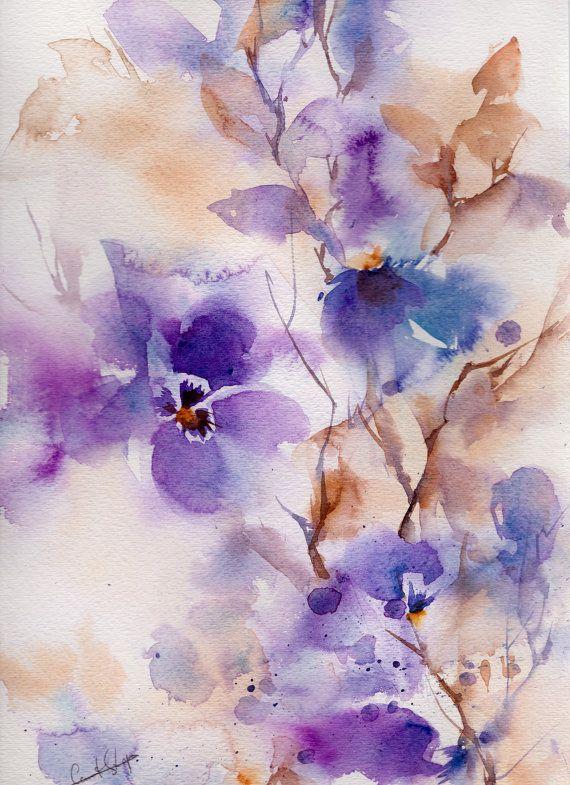 Abstract paarse bloemen schilderij, originele aquarel, waterverf kunst