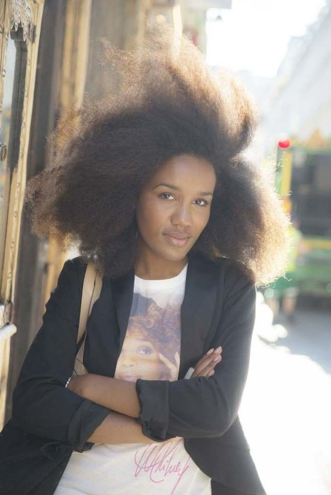 Fashion Bombshell of the Day: Gabrielle from France.   Natural hair. Afro hair. Frizzy curls. Kinky curly coily hair.