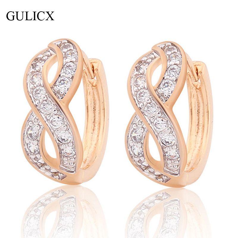 Gulicx infinito diseño pequeño círculo arada piercings 2017 pendientes de aro de color oro blanco pendiente cristalino para las mujeres pendientes e187